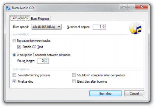 Screenshot: Audio Burning Dialog