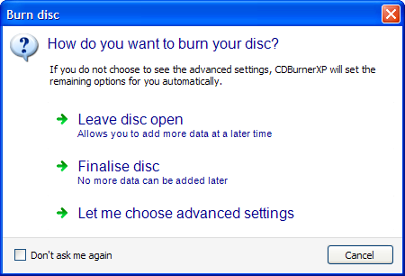 Screenshot:Burn Options